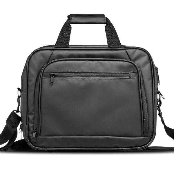 Front view of a tarpaulin laptop weekend bag