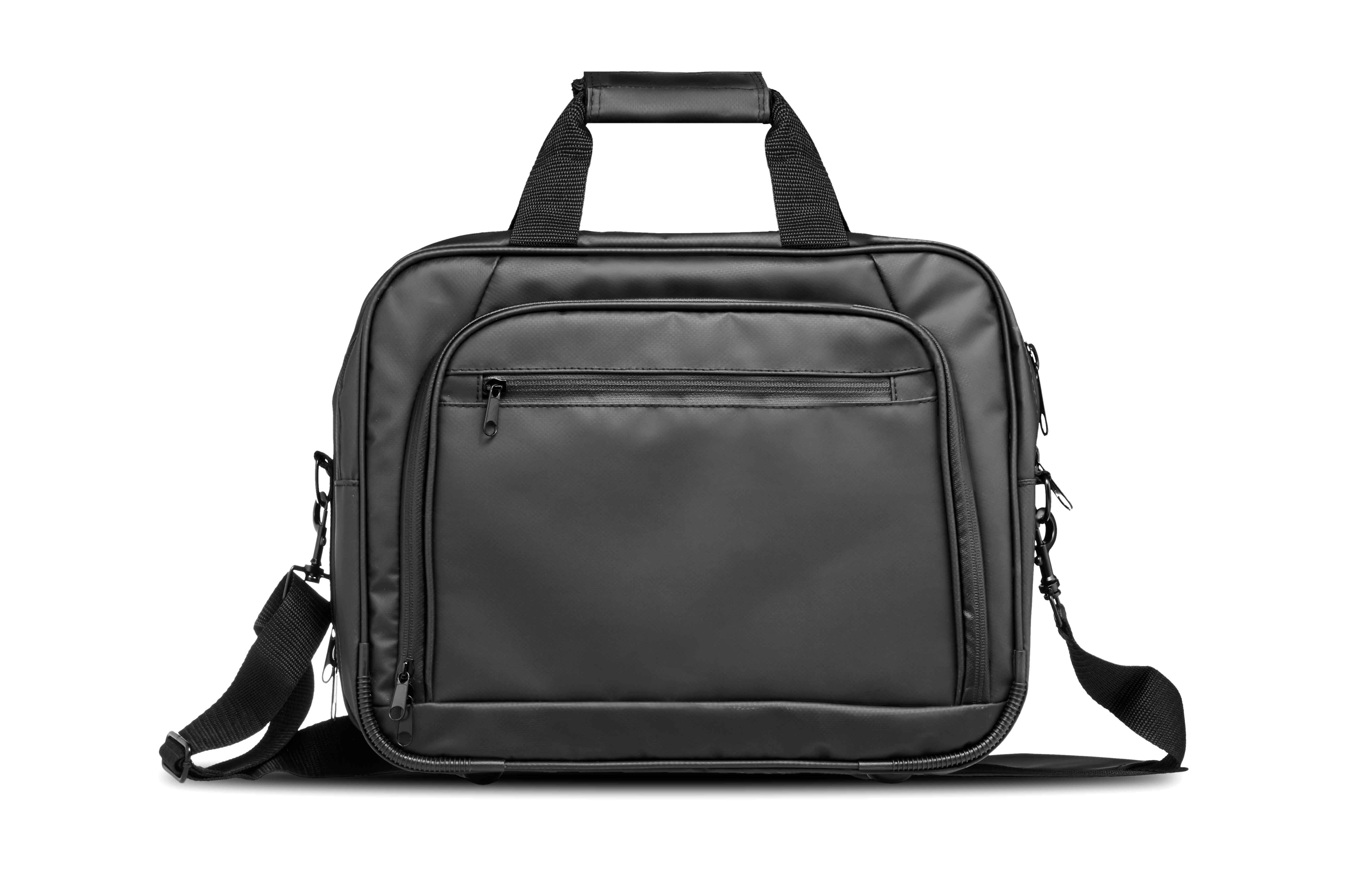 Front view of a tarpaulin laptop weekend bag