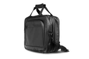 Angled view of a tarpaulin laptop weekend bag
