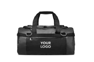 Black offshore tarpaulin grab bag with custom printed logo on front