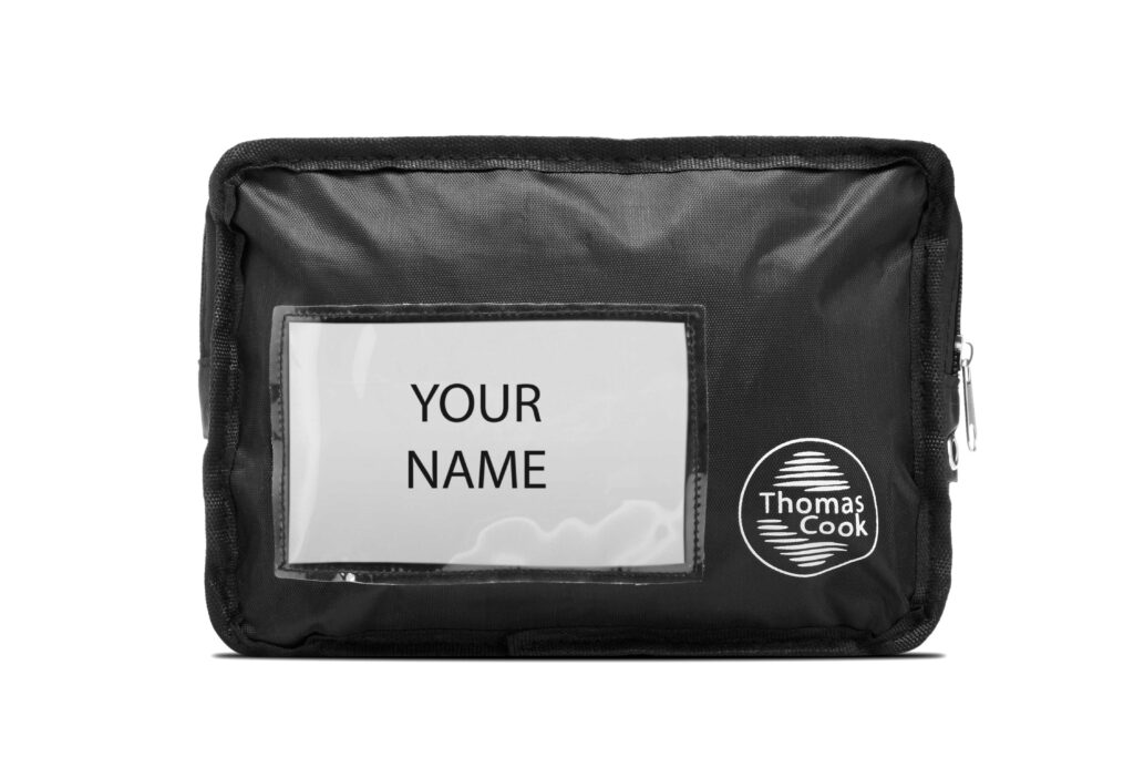 Frontal picture of a Thomas Cook offshore bag. Contains logo and name cardholder